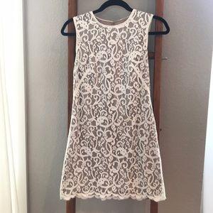 Loft sleeveless lace dress 0 cream off white